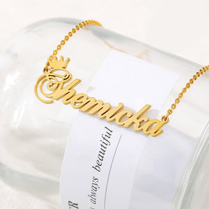 18k Gold Plated Custom Name Necklace With Crown-Christmas Gifts For Women