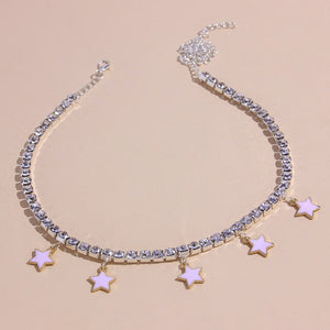 Rhinestone Star Pendant Hip Hop Necklaces For Women
