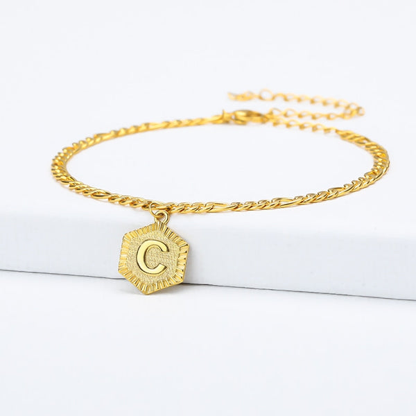 Letter Anklet With Resizable Chain