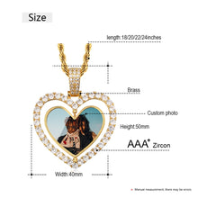 Custom Made Photo Heart Rotating Double-sided Medallions Necklace Christmas Gifts For Dad