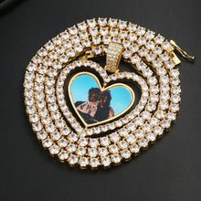 Custom Made Photo Heart Rotating Double-sided Medallions Necklace Christmas Gifts For Men
