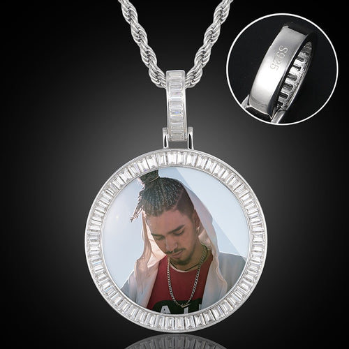 New 925 Starling Silver Personalize Photo Medallion Necklace