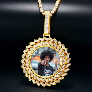 New Custom Photo Medallion Pendant Sunflower Necklace