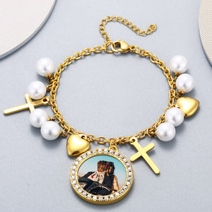Custom Medallion Photo Bracelet With Heart Charm White Pearl and Cross