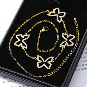 Crystal Cubic Zirconia Butterfly Pendant Necklace - Clavicle Chain Plating of Gold Butterfly Necklace