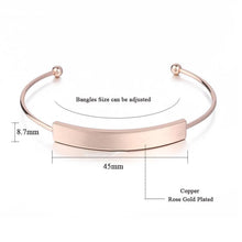 Personalized Engraved Name Rose Gold Bangles On Sale