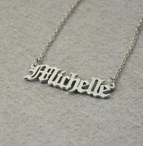 Personalized Name Necklace, Old English Style