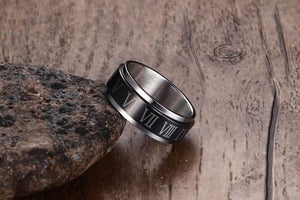 Roman Numerals Rotatable Men's Spinner Rings