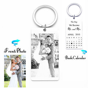 Engrave Bride Groom Photo,Calendar Key Chain