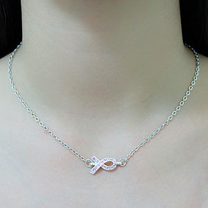 Breast Cancer Awareness Pink Ribbon Rhinestone Pendant Necklace