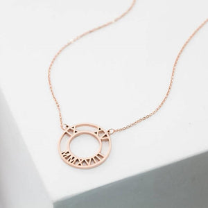 Double-Circle Roman Numeral Necklace Clock Design