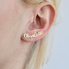 Customize Initial Cursive Nameplate Stud Earring For Women