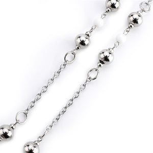 Women Badge Holder necklace with Silver beads