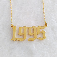 Custom Old English Number Necklace