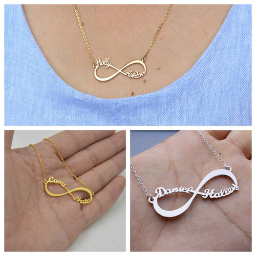 Custom Infinity Name Necklace- Two Name Promise Charm