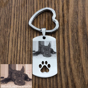 Personalized Pet Photo Keychain With Pet Foot Tags