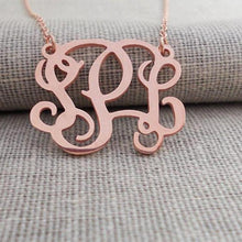 Personalized Monogram Necklace- 3 Initial Pendant