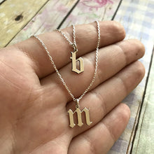 Old English Font Initial Necklace- Custom Made Old English Font Capital, Small letter And Number Pendant Necklace