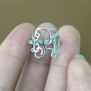 Custom 3 Initial Monogram Ring For Women