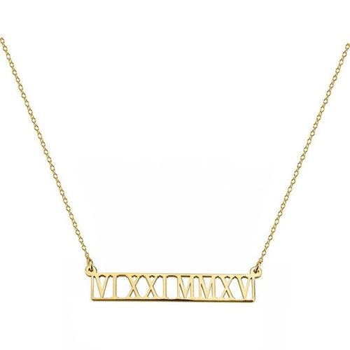 Custom Roman Numeral Bar Necklaces