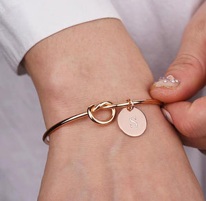 Personalized Initial Bracelet- Knotted Open Cuff Bangle