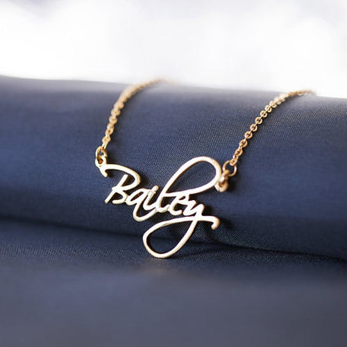 Personalized Name Necklace- 18k Gold Plated Script Style