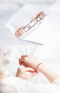 Personalized Cuff Bracelet With Name, Coordinates, Roman Numeral, Date