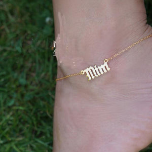 18K Gold Plated Custom Anklet For Women -Custom any word on your leg anklet