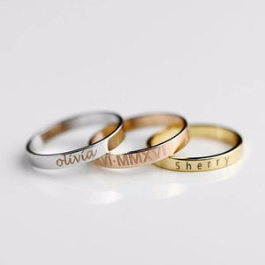 Personalized Ring With Engraved Name Date