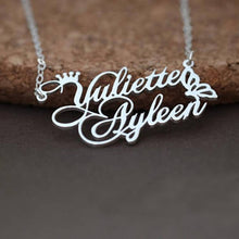Customized Double Name Necklace With Crown and Butterfly