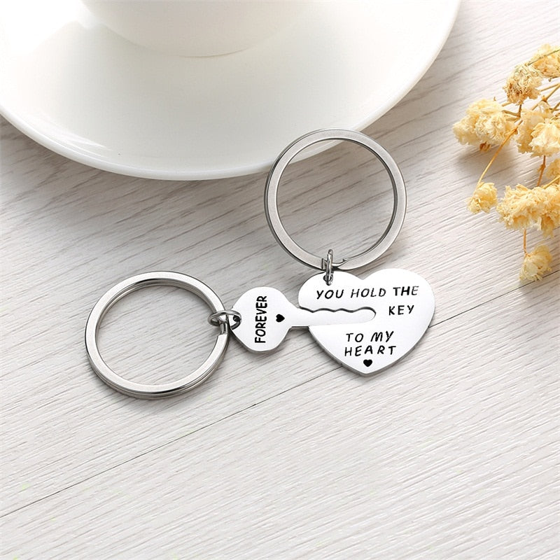 Key & Heart Keychain For Couple