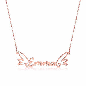 Personalized Gold Name Necklaces With Angel Wings