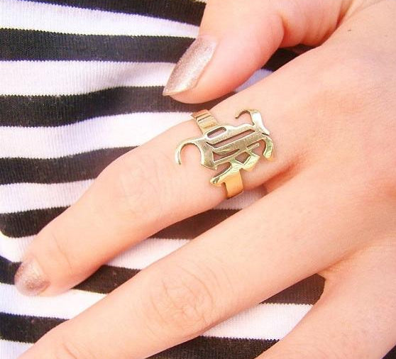 Personalized Old English Initial Name Ring For Women