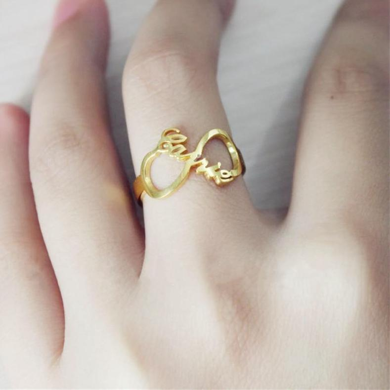 18K Gold Plated Custom Infinity Name Ring