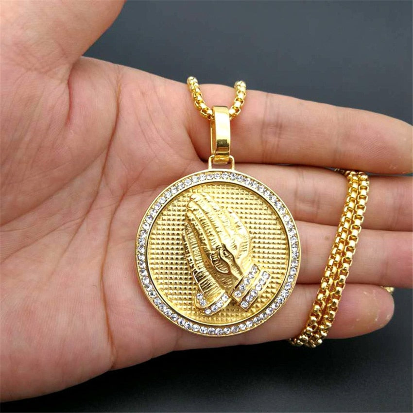 Hip-Hop Iced Out Praying Hands Pendant Necklaces