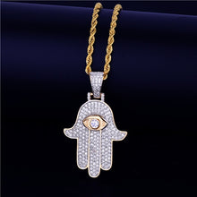 Men's Hip Hop Hamsa Hand Pendant Necklace