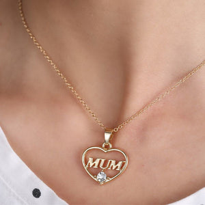 Heart Rhinestone MUM Necklace For Mother