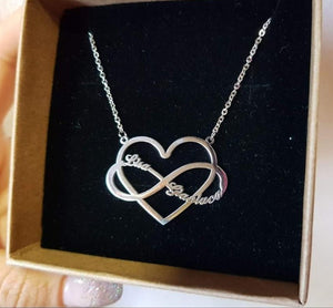 Custom Couple Infinity Necklace With Heart