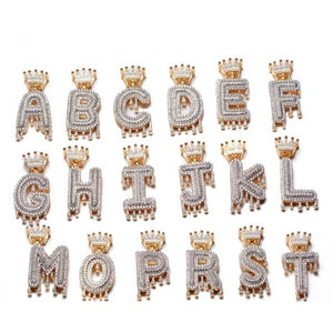 Bubble Letters Initial Necklaces- Bubble Initial Crown Necklace