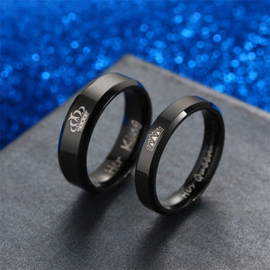 "Promise Rings For Couple, Engraved ""Her King"" "" His Queen"" With Crown"