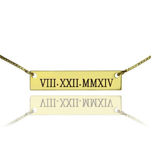 Custom Roman Numeral Bar Necklace Gold Color