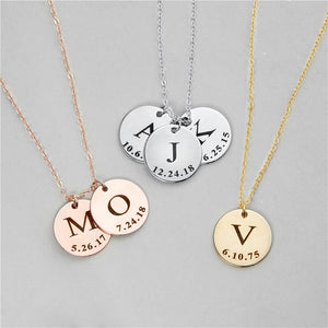 Personalized Initial Disc Necklace With Date