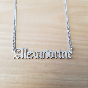Custom Name Necklace, Old English Font With Curb Chain