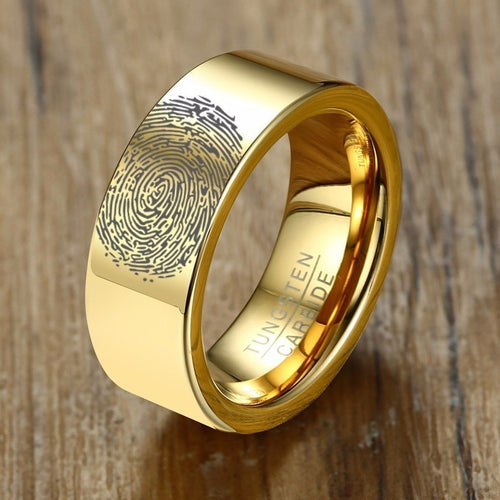 Personalized Fingerprint Tungsten Ring
