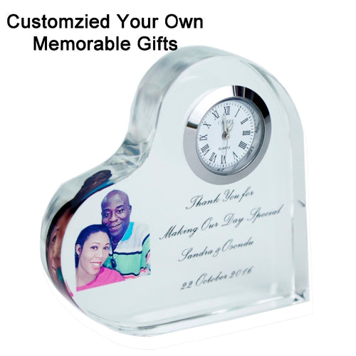 Customized Crystal Heart Photo Frame With Clock