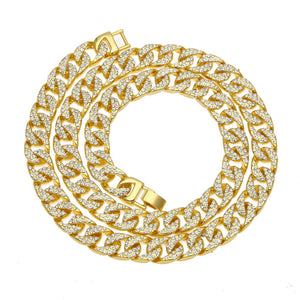 Gold Hip Hop Necklaces, 13mm Iced CZ Cuban Link Chain