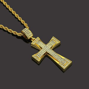Hip Hop Necklace- Iced Out Bling JESUS Christ Cross Pendant