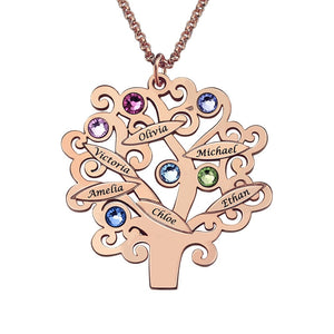 Custom Family Tree Necklace- Engrave Name With Birthstone