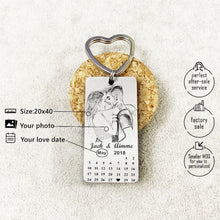 Personalized Calendar Engrave Photo Keychain
