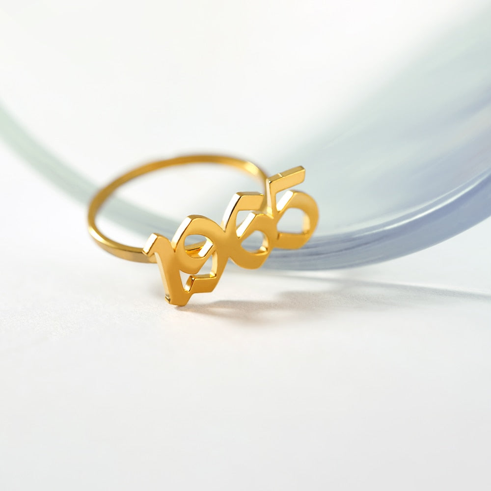 Personalized Name Old English Number Rings